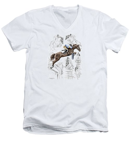 Men's V-Neck T-Shirt featuring the drawing Contemplating Flight - Horse Jumper Print Color Tinted by Kelli Swan