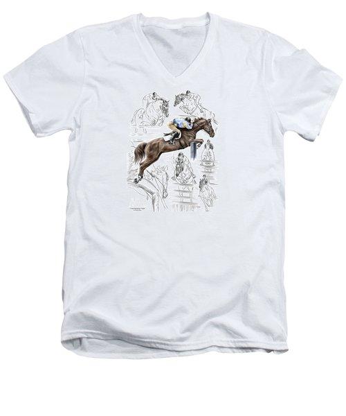 Contemplating Flight - Horse Jumper Print Color Tinted Men's V-Neck T-Shirt