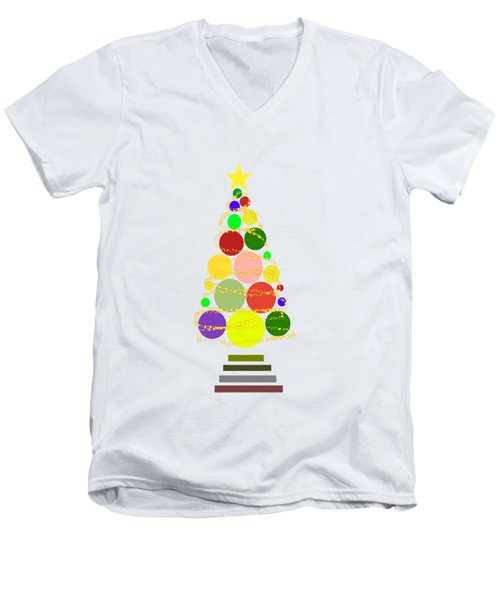 Contemporary Christmas Men's V-Neck T-Shirt by Kathleen Sartoris