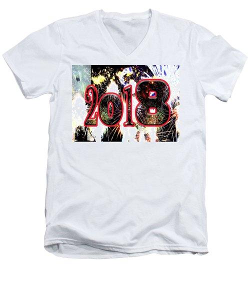 Contemporary Fireworks 2018 Cool Modern Art Men's V-Neck T-Shirt