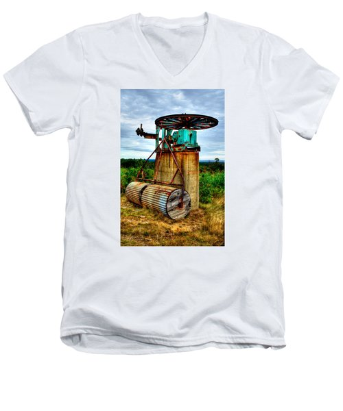 Men's V-Neck T-Shirt featuring the photograph Contraption On Mt Agamenticus by Richard Ortolano