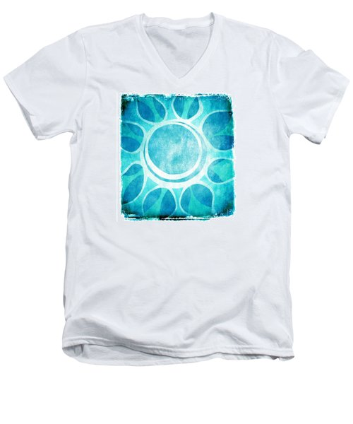 Men's V-Neck T-Shirt featuring the digital art Cool Blue Flower by Lenny Carter