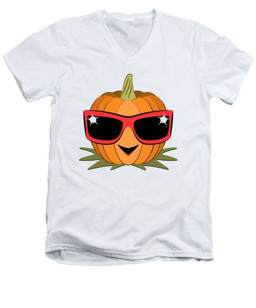 Cool Pumpkin Wearing Retro Nineties Sunglasses Men's V-Neck T-Shirt by MM Anderson