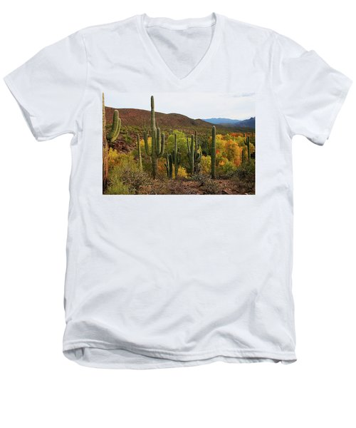Coon Creek With Saguaros And Cottonwood, Ash, Sycamore Trees With Fall Colors Men's V-Neck T-Shirt
