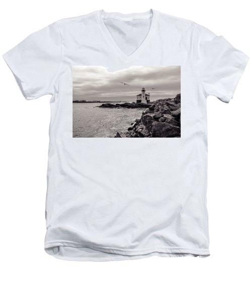 Coquille Lighthouse Oregon  Men's V-Neck T-Shirt