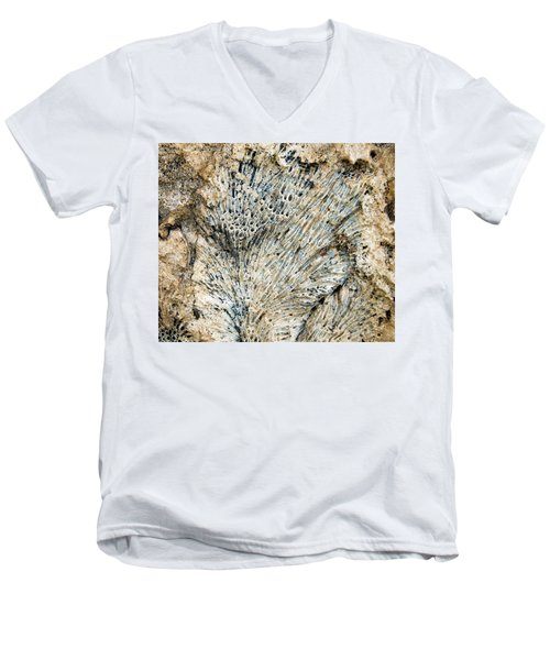 Coral Fossil Men's V-Neck T-Shirt by Jean Noren