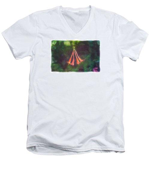 Coral Honeysuckle Men's V-Neck T-Shirt