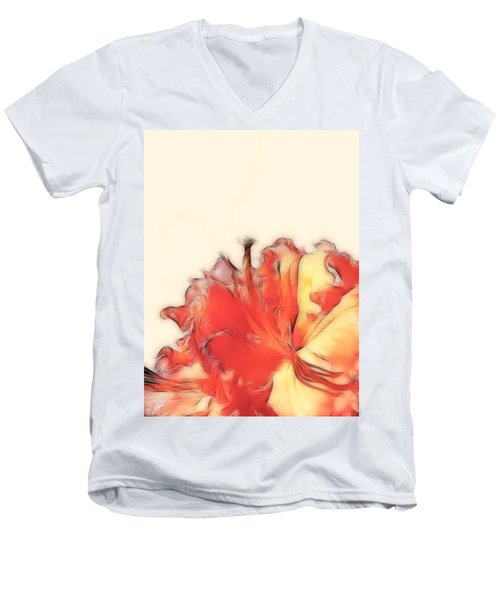 Coral Rhododendron Men's V-Neck T-Shirt by Lynn Bolt