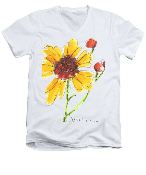 Coreopsis By Kathleen Mcelwaine Men's V-Neck T-Shirt by Kathleen McElwaine