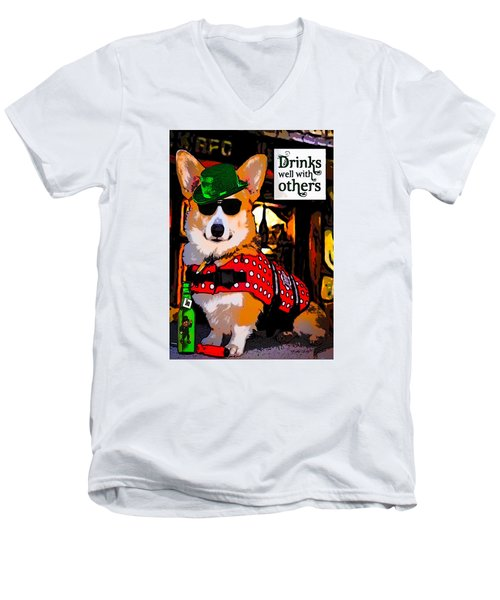Men's V-Neck T-Shirt featuring the digital art Corgi - Drinks Well With Others by Kathy Kelly