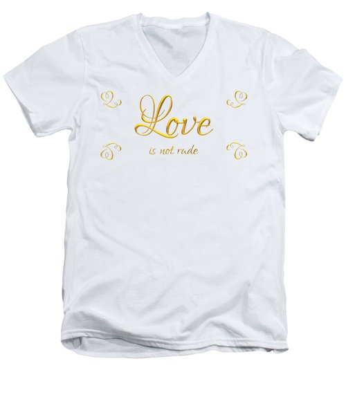 Men's V-Neck T-Shirt featuring the digital art Corinthians Love Is Not Rude by Rose Santuci-Sofranko