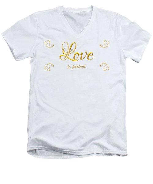 Men's V-Neck T-Shirt featuring the digital art Corinthians Love Is Patient by Rose Santuci-Sofranko