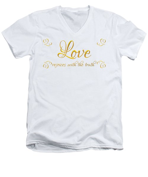 Men's V-Neck T-Shirt featuring the digital art Corinthians Love Rejoices With The Truth by Rose Santuci-Sofranko