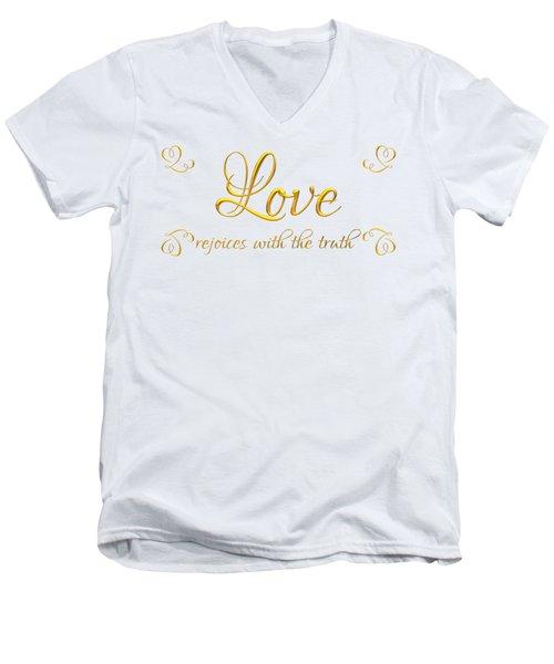 Corinthians Love Rejoices With The Truth Men's V-Neck T-Shirt