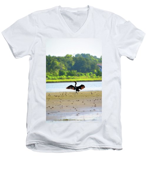 Cormorant At Topsail Beach Men's V-Neck T-Shirt