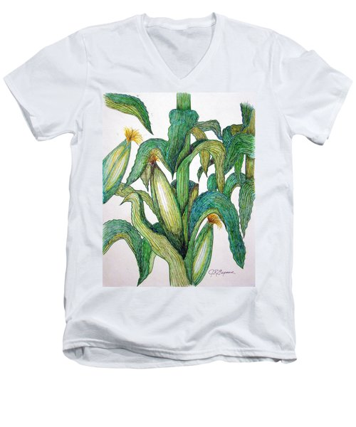 Corn And Stalk Men's V-Neck T-Shirt by J R Seymour