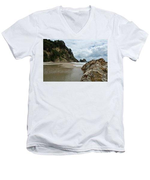 Coromandel, New Zealand Men's V-Neck T-Shirt by Yurix Sardinelly