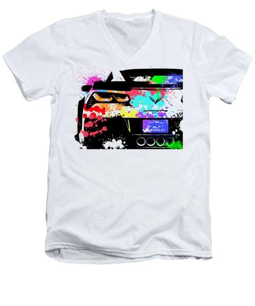 Corvette Pop Art 1 Men's V-Neck T-Shirt