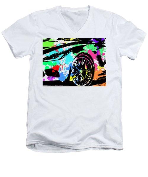 Corvette Pop Art 3 Men's V-Neck T-Shirt