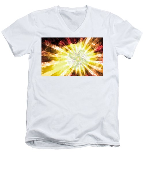 Men's V-Neck T-Shirt featuring the digital art Cosmic Solar Flower Fern Flare 2 by Shawn Dall