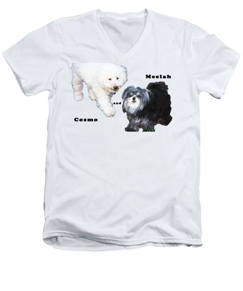 Cosmo And Meelah 2 Men's V-Neck T-Shirt by Terry Wallace