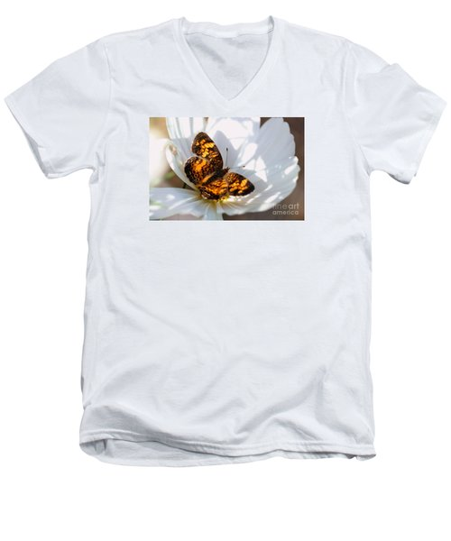 Pearl Crescent Butterfly On White Cosmo Flower Men's V-Neck T-Shirt