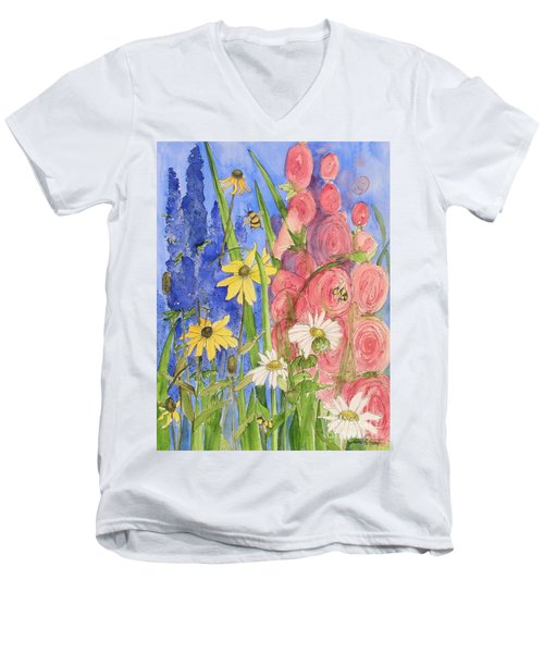 Cottage Garden Daisies And Blue Skies Men's V-Neck T-Shirt by Laurie Rohner