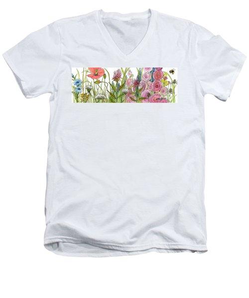 Cottage Hollyhock Garden Men's V-Neck T-Shirt