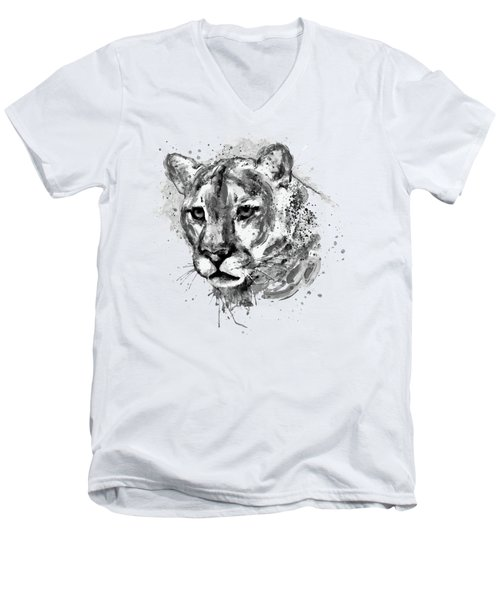 Men's V-Neck T-Shirt featuring the mixed media Cougar Head Black And White by Marian Voicu