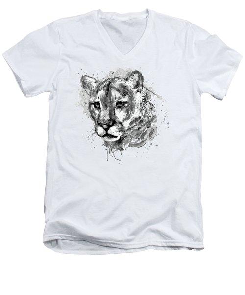 Cougar Head Black And White Men's V-Neck T-Shirt
