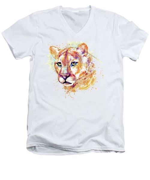 Cougar Head Men's V-Neck T-Shirt by Marian Voicu