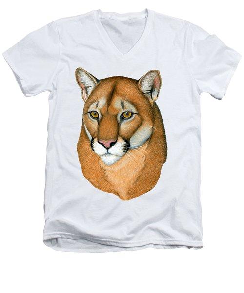 Cougar Portrait Men's V-Neck T-Shirt