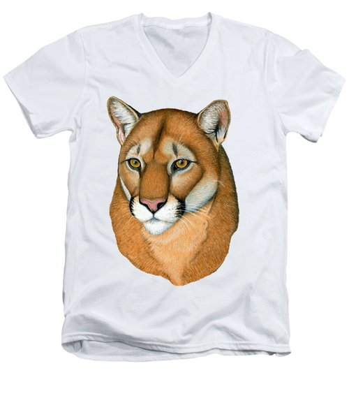 Cougar Portrait Men's V-Neck T-Shirt