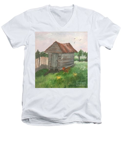 Men's V-Neck T-Shirt featuring the painting Country Corncrib by Lucia Grilletto