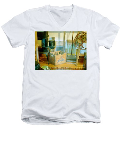 Men's V-Neck T-Shirt featuring the painting Country Kitchen Sunshine II by RC deWinter