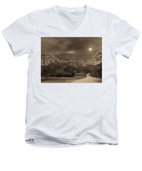 Men's V-Neck T-Shirt featuring the photograph Country Moonlight by Beto Machado