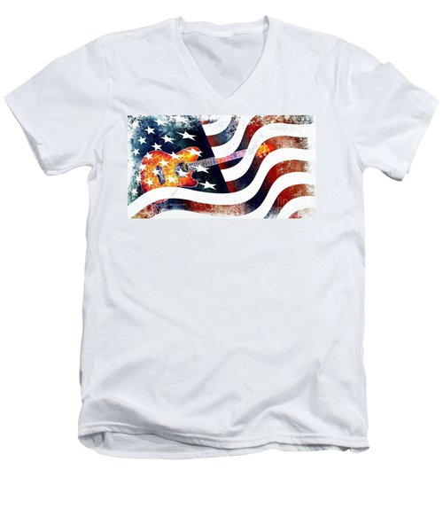Country Music Guitar And American Flag Men's V-Neck T-Shirt by Annie Zeno
