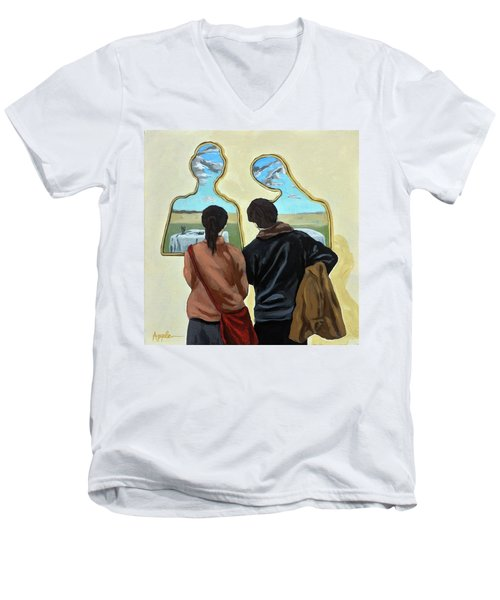 Couple With Their Heads Full Of Clouds Men's V-Neck T-Shirt