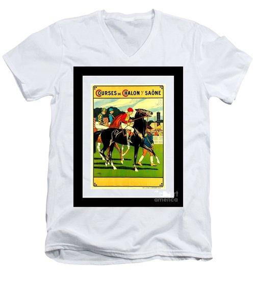 Courses De Chalon French Horse Racing 1911 II Leon Gambey Men's V-Neck T-Shirt