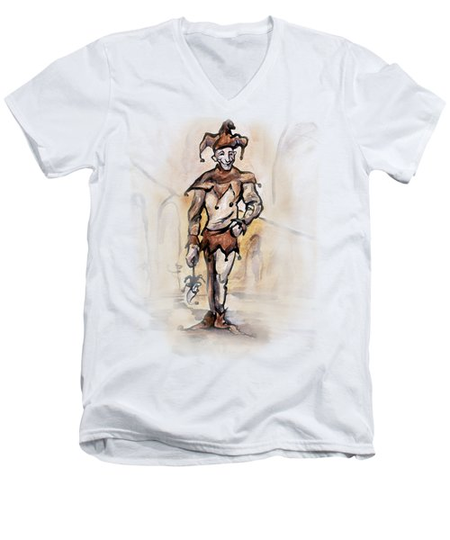 Men's V-Neck T-Shirt featuring the painting Court Jester by Kevin Middleton