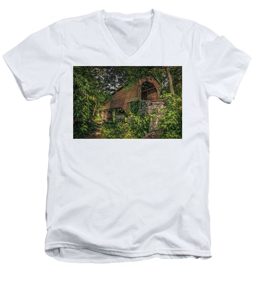 Men's V-Neck T-Shirt featuring the photograph Covered Bridge by Lewis Mann