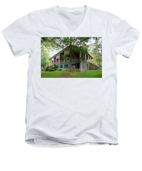 Men's V-Neck T-Shirt featuring the photograph Covewood Lodge On Big Moose Lake by David Patterson