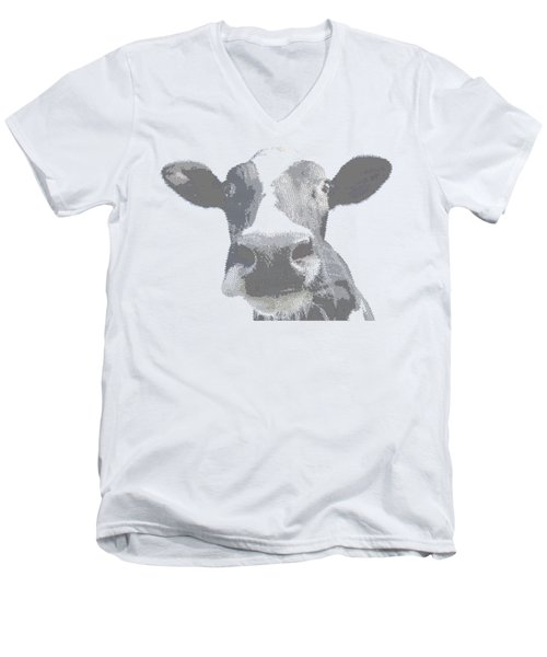 Cow - Cross Hatching Men's V-Neck T-Shirt