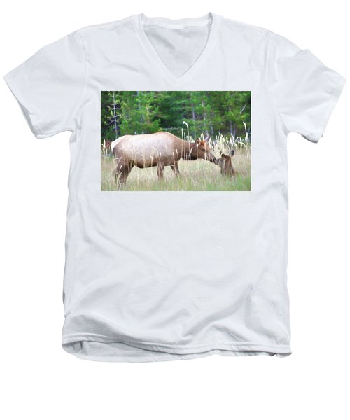 Cow Elk And Spring Baby Men's V-Neck T-Shirt