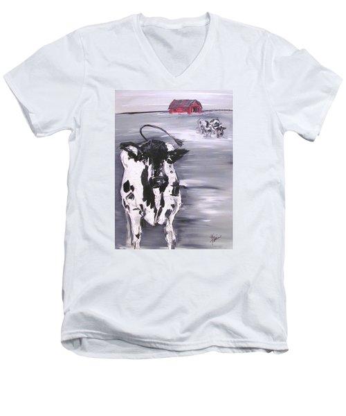 Cow In Winter Men's V-Neck T-Shirt by Terri Einer
