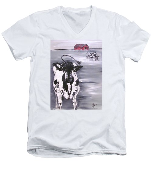 Cow In Winter Men's V-Neck T-Shirt