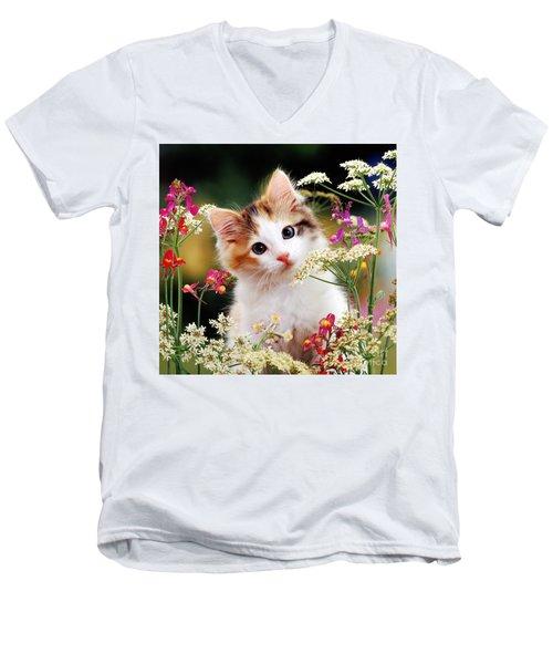 Cow Parsley Cat Men's V-Neck T-Shirt