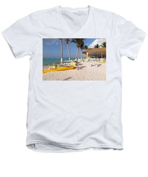 Men's V-Neck T-Shirt featuring the photograph Cow Wreck Bay Beach Bar 2 by Eric Glaser