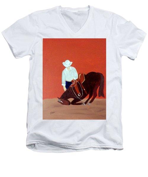 Cowboy And His Horse Men's V-Neck T-Shirt