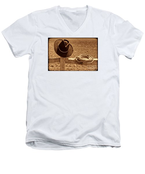 Cowboy Hat And Rope On A Fence Men's V-Neck T-Shirt